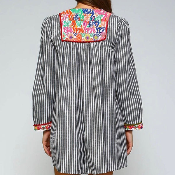 embroidered tunic w/ mini pom-poms
