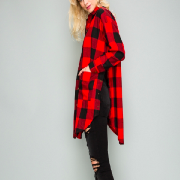 Check Print Long Flannel Jacket