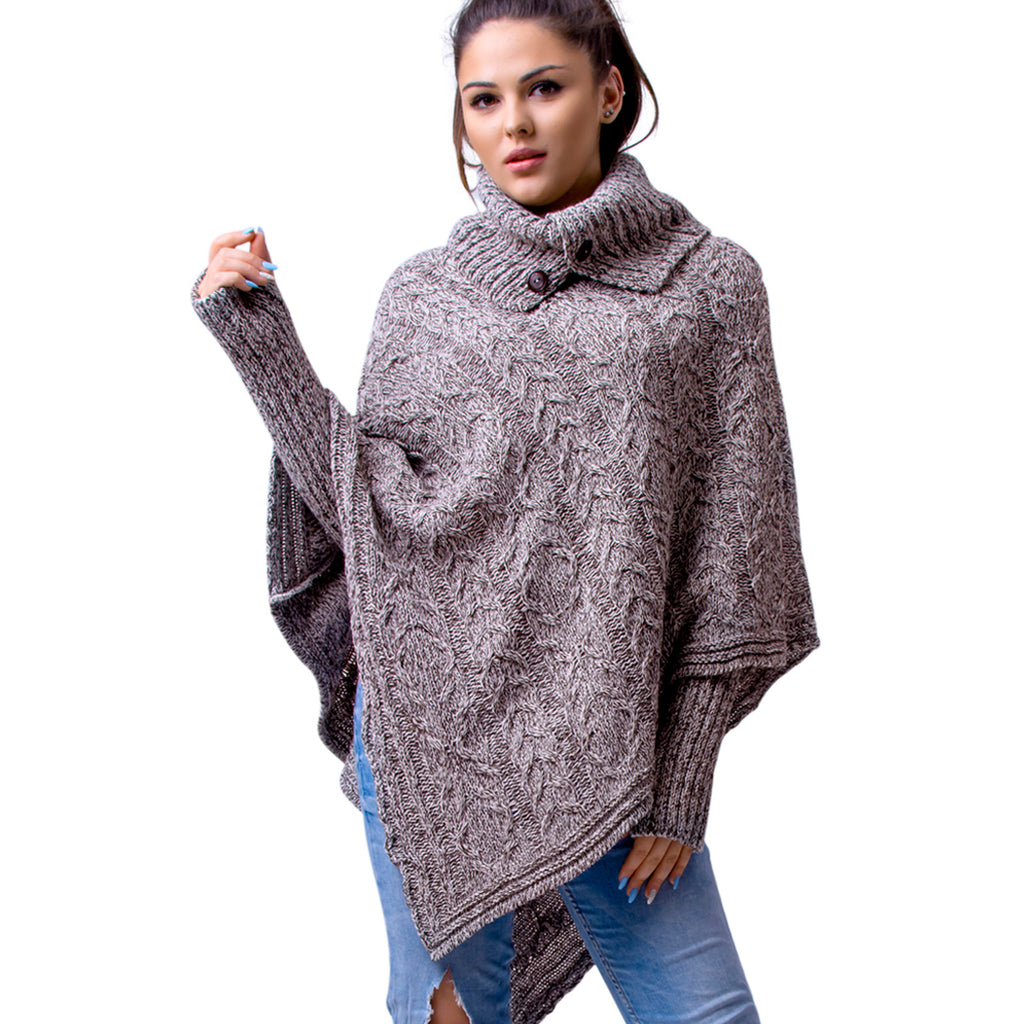 Well-known Women's Polo Neck Knit Poncho Cape Jumper + Arm Warmer Fingerless  ZM15