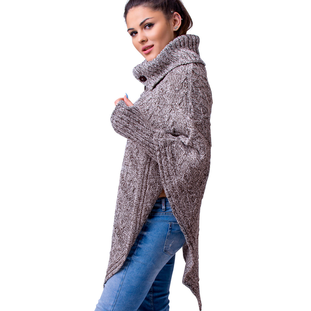 Women's Polo Neck Knit Poncho Cape Jumper + Arm Warmer Fingerless Gloves