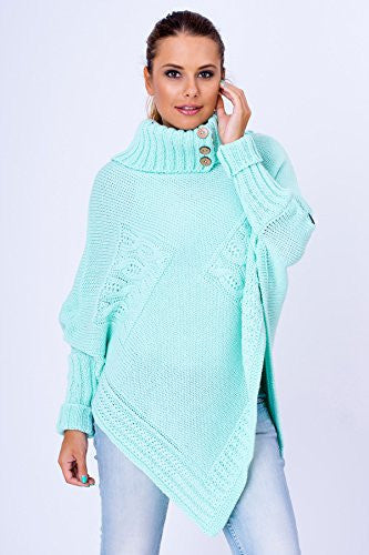 WozWoz Women's Polo Neck Knit Poncho Cape Jumper Fall Long Sleeve