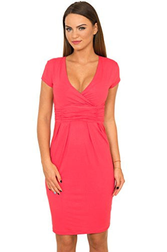 WozWoz Women's V Neck Cap Sleeve Summer Dress
