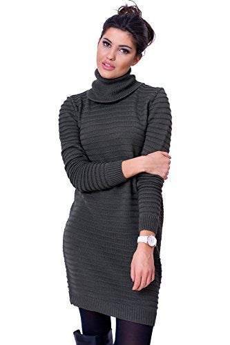 WozWoz Clothing Women's Jumper Dress Polo Neck Knit Long Sleeve Sweater