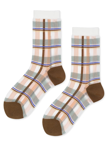 Plaid Sheer Crew Socks