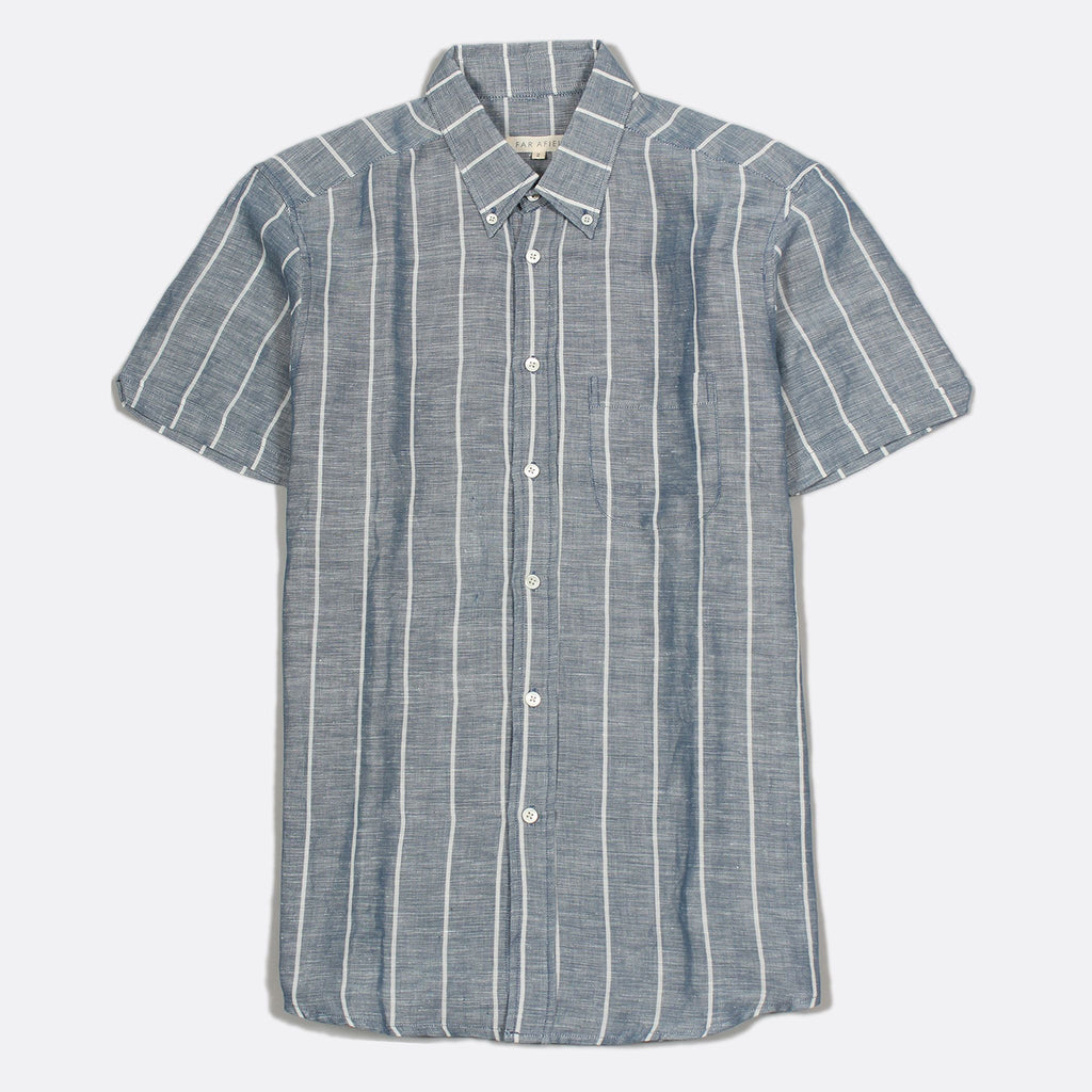 Mod Button Down Shirt- Blue Stripe