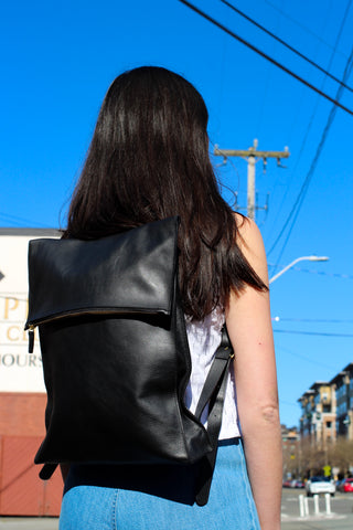 Traveler Square Black Backpack