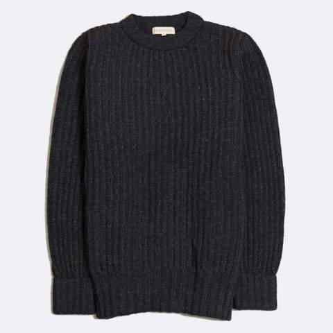 Espresso Gray Tanner Rib Knit Wool Sweater