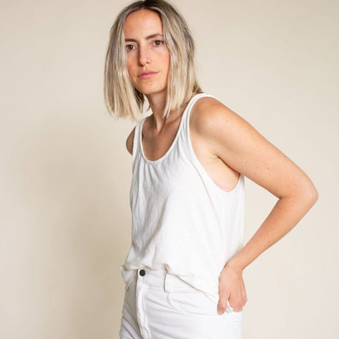 Washed White Cropped Tank