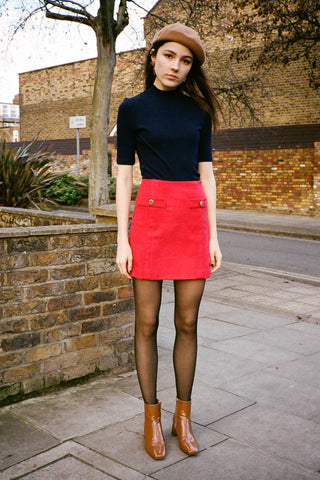 Peck Button Mini Skirt