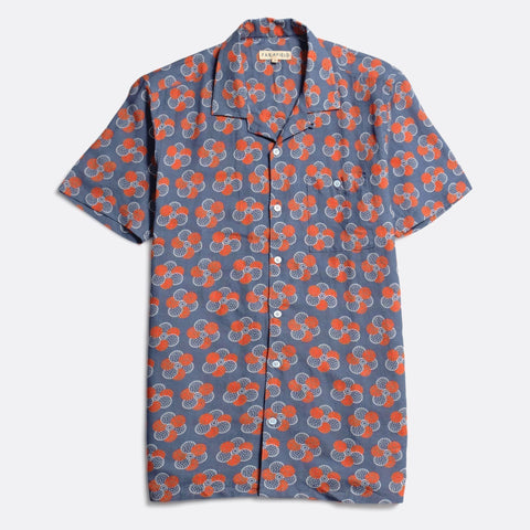 Blue Patchwork Floral Selleck Short Sleeve Shirt
