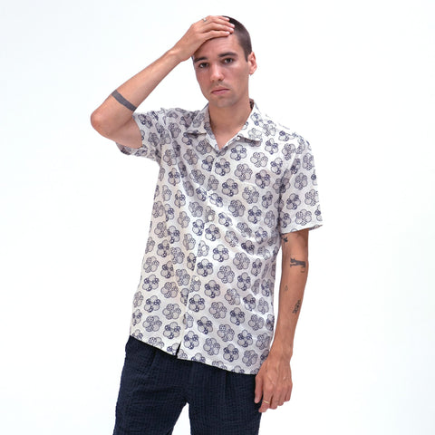 White Patchwork Floral Selleck Short Sleeve Shirt