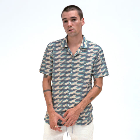 Wavista Blue Selleck Short Sleeve Shirt