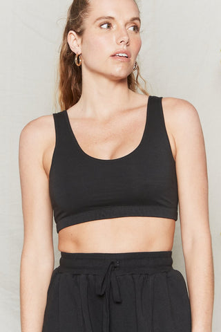 Black Organic Cotton Reversible Crop Bra