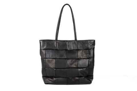 Checkered Leather Tote