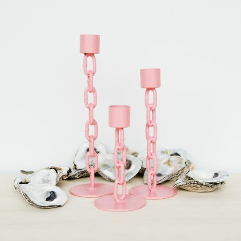 Pink Chain Candlestick Holder