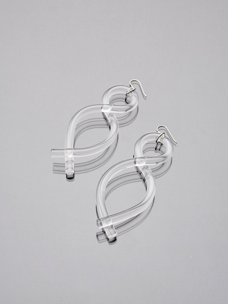 Clear Lucite Twist Earrings