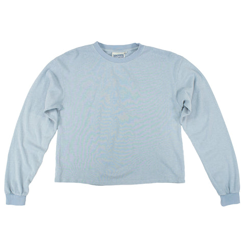 Ether Blue Cropped Long Sleeve Tee