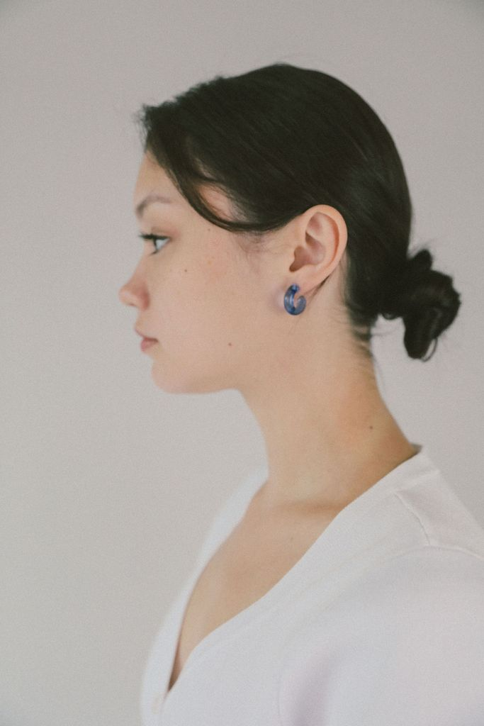 Small Glass Hoops in Blue