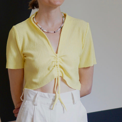 Yellow Astrid Pleated Top