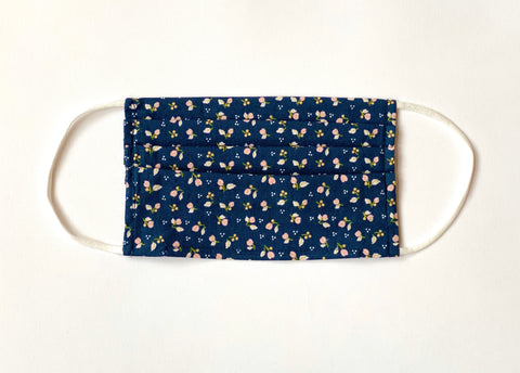 Navy Ditsy Floral Cotton Face Mask