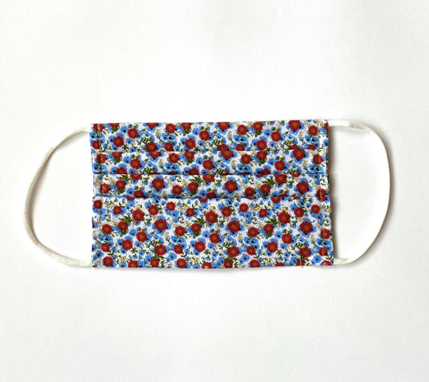 Red Blue Ditsy Floral Cotton Face Mask