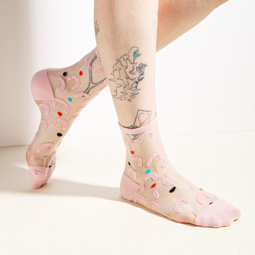 Sheer Socks in Pink Arcs