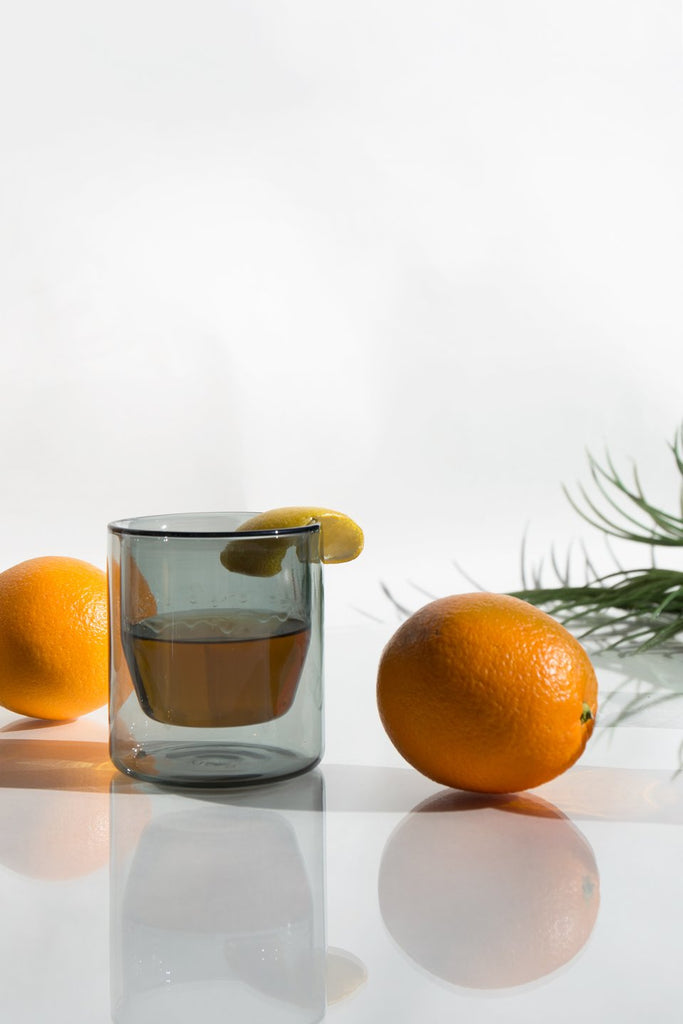 Gray Double-Wall 6oz Glasses - Set of 2