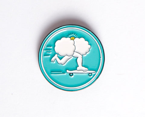 Cloud Boarding Enamel Pin