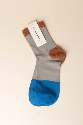 Liza Sparkle Ankle Socks - Blue / Copper / Grey