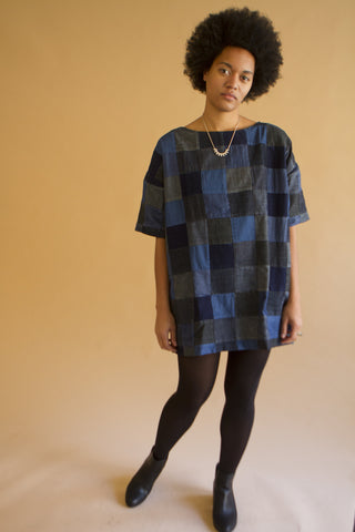 Patchwork Denim Square Dress