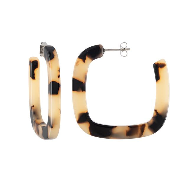 Blonde Tortoise Midi Square Hoops