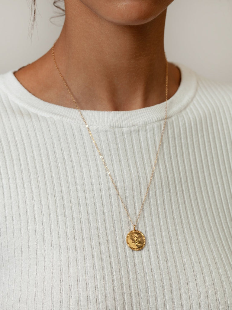 Rose Coin Pendant Necklace