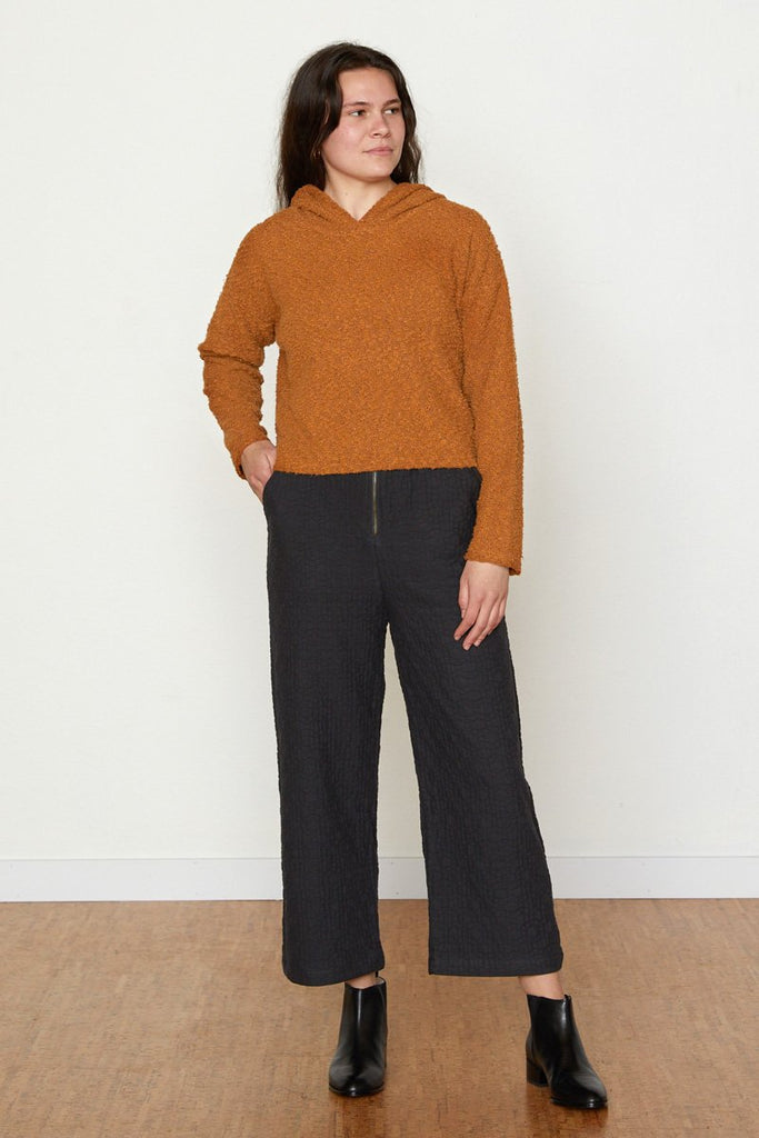 Toffee Pebble Knit Cropped Hoodie