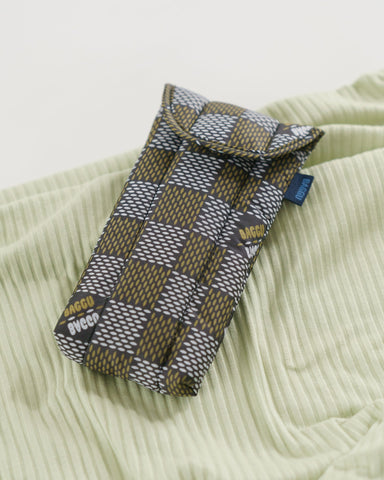 Woven Check Puffy Glasses Sleeve