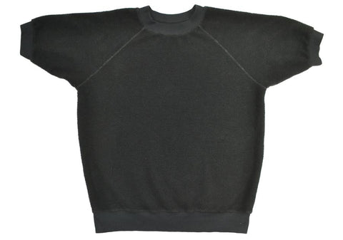 Black Short Sleeve Raglan Sherpa Sweatshirt