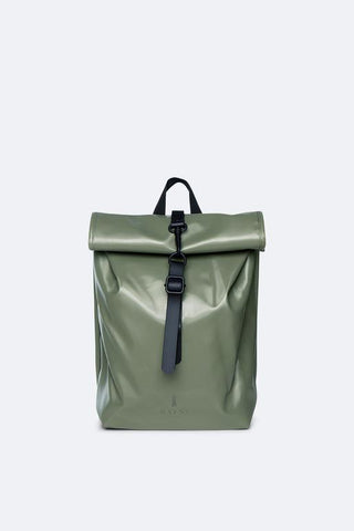 Shiny Olive Roll Top Mini Back Pack