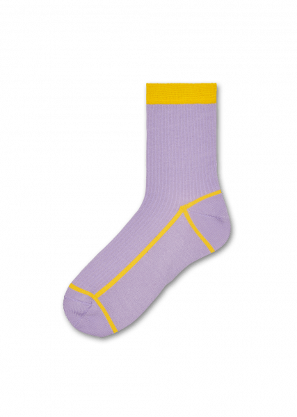 Lily Ribbed Ankle Socks - Purple/Yellow
