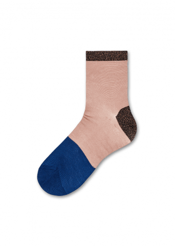 Liza Sparkle Ankle Socks - Pink / Blue/ Sparkly Brown