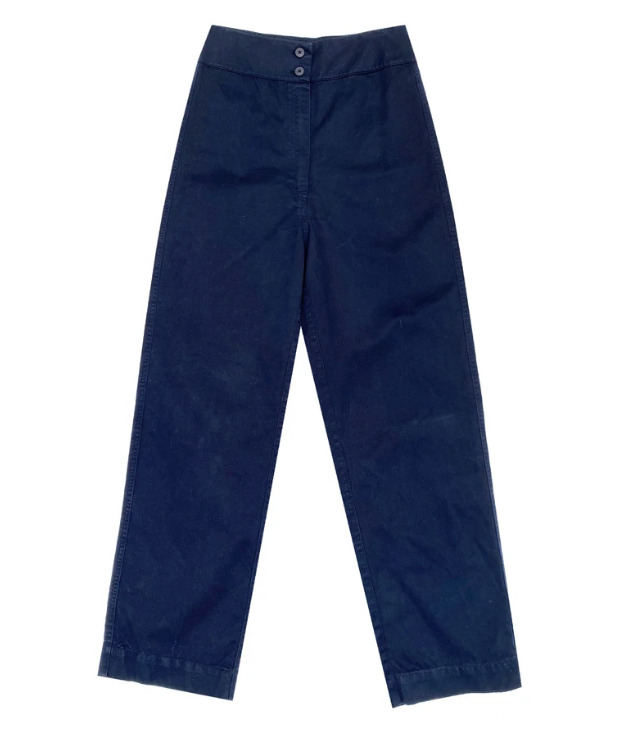 Navy Cotton Fly Pant