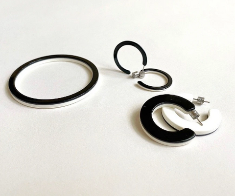 Black and Ivory Mini Hoops