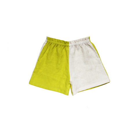 Chartreuse and Almond Linen Play Shorts