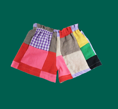 Multi-Patchwork Linen Play Shorts