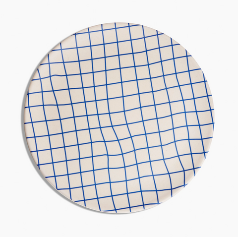 Bamboo Dinner Plate Set in Blue Grid