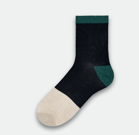 Liza Sparkle Ankle Socks - Black / Green / White