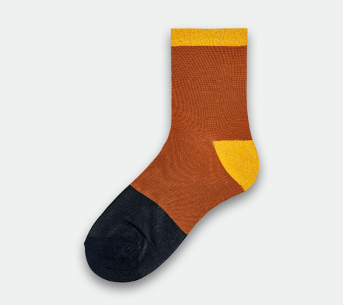 Liza Sparkle Ankle Socks - Black / Brown / Yellow