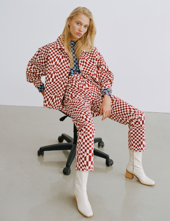 Paloma Wool AW19 Psychedelic Check Print Pants Made in Barcelona