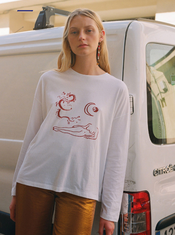 Paloma Wool AW19 Long Sleeve Dragon Nude Print Made in Barcelona