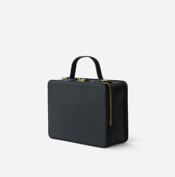 Black Leather Box Bag