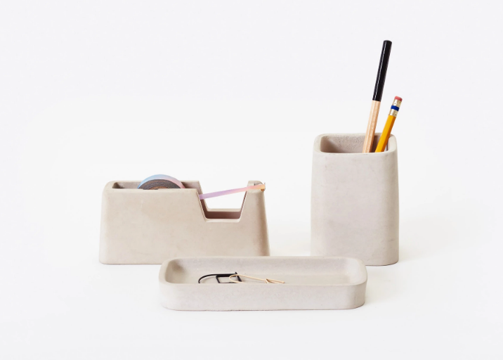 Gray Concrete Desk Set