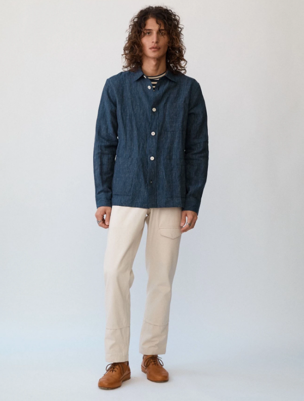 Navy Linen Stripe Overshirt